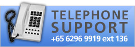Telephone Support - +65 6296 9919 ext 36